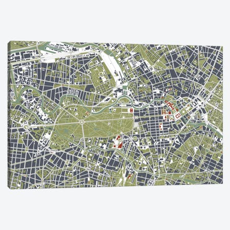 Berlin Engraving Canvas Print #PUB13} by Planos Urbanos Art Print