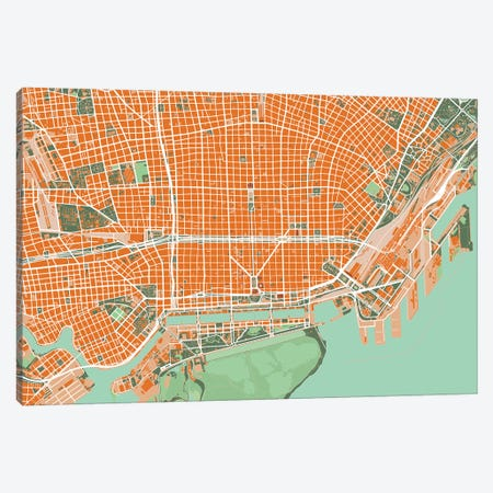 Buenos Aires Orange Canvas Print #PUB15} by Planos Urbanos Canvas Artwork