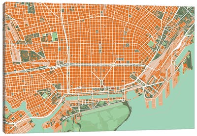 Buenos Aires Orange Canvas Art Print
