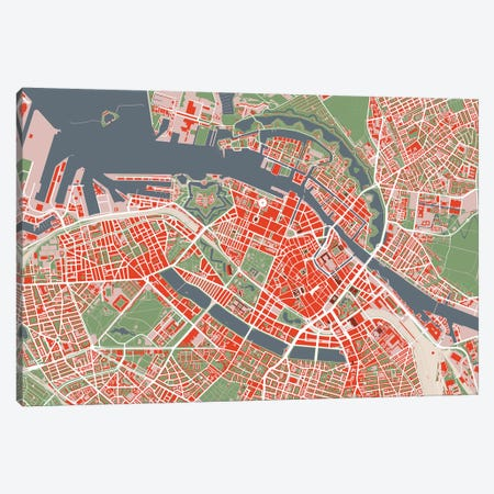 Copenhague Classic Canvas Print #PUB17} by Planos Urbanos Canvas Art