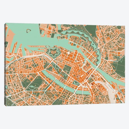 Copenhague Orange Canvas Print #PUB18} by Planos Urbanos Canvas Art Print