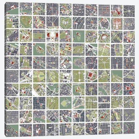 20 Cities Fragments Canvas Print #PUB1} by Planos Urbanos Canvas Art Print