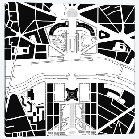 Eiffel Tower Paris Canvas Print #PUB20} by Planos Urbanos Canvas Artwork