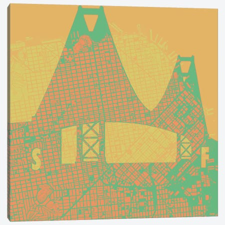 Golden Gate Canvas Print #PUB30} by Planos Urbanos Canvas Art Print
