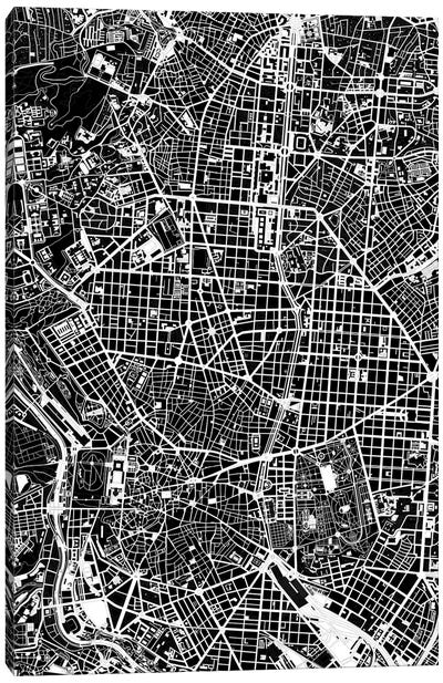 Madrid Black And White Canvas Art Print