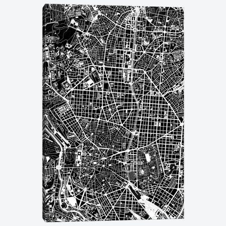 Madrid Black And White 3-Piece Canvas #PUB40} by Planos Urbanos Canvas Artwork