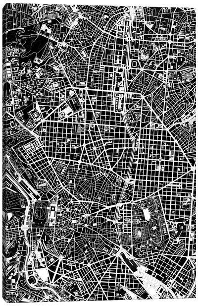 Madrid Black And White Canvas Art Print