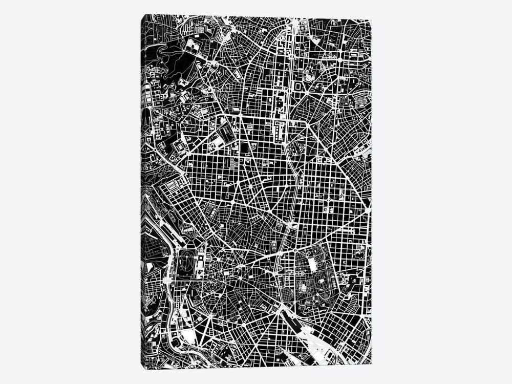 Madrid Black And White by Planos Urbanos 1-piece Canvas Print