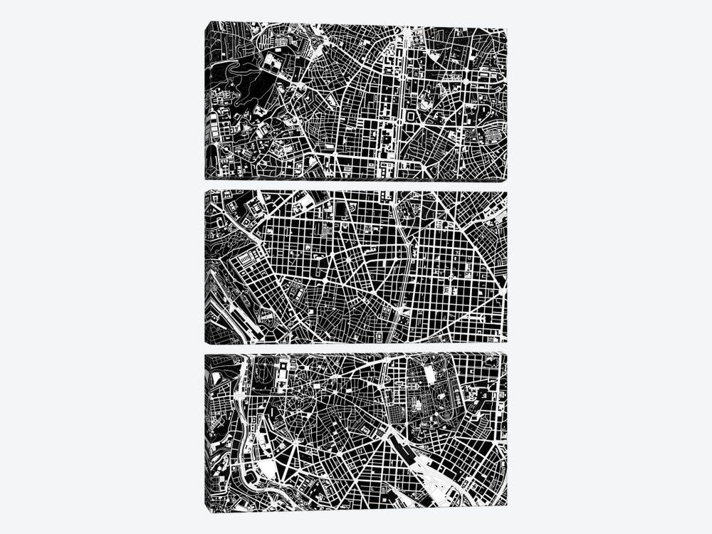 Madrid Black And White by Planos Urbanos 3-piece Canvas Art Print