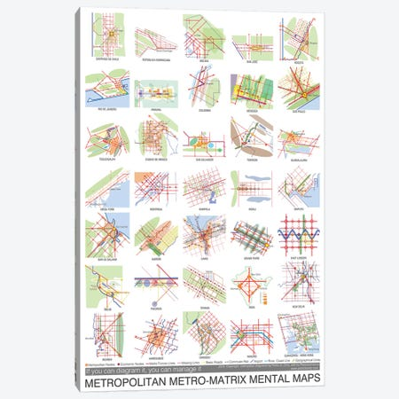Metropolitan Metro-Matrix Mental Maps Canvas Print #PUB43} by Planos Urbanos Canvas Wall Art