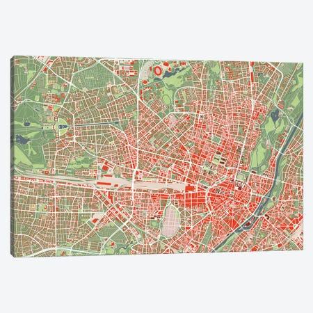 Munich Classic Canvas Print #PUB44} by Planos Urbanos Canvas Art Print