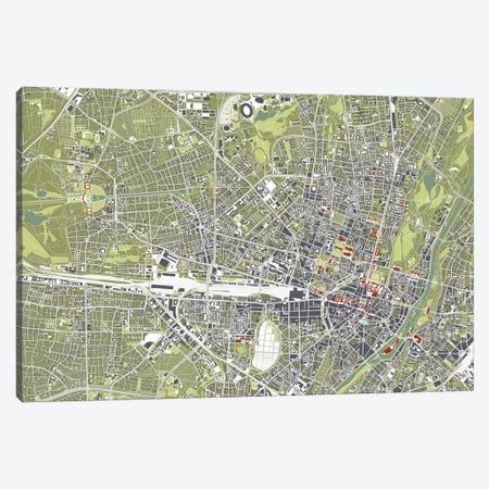 Munich Engraving 3-Piece Canvas #PUB45} by Planos Urbanos Canvas Print