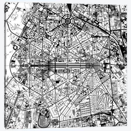 New Delhi Black And White Canvas Print #PUB46} by Planos Urbanos Canvas Print