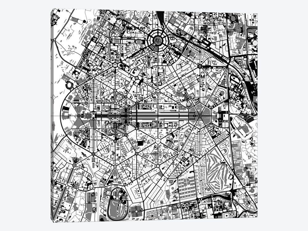 New Delhi Black And White by Planos Urbanos 1-piece Canvas Art Print