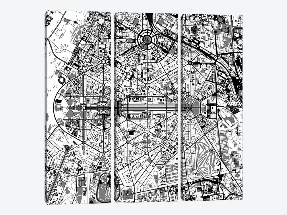 New Delhi Black And White by Planos Urbanos 3-piece Canvas Art Print
