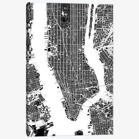 New York Black And White Canvas Print #PUB47} by Planos Urbanos Canvas Art Print