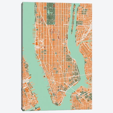 New York City Orange Canvas Print #PUB49} by Planos Urbanos Canvas Wall Art