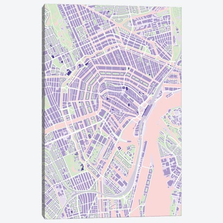 Amsterdam Violet 3-Piece Canvas #PUB4} by Planos Urbanos Canvas Art