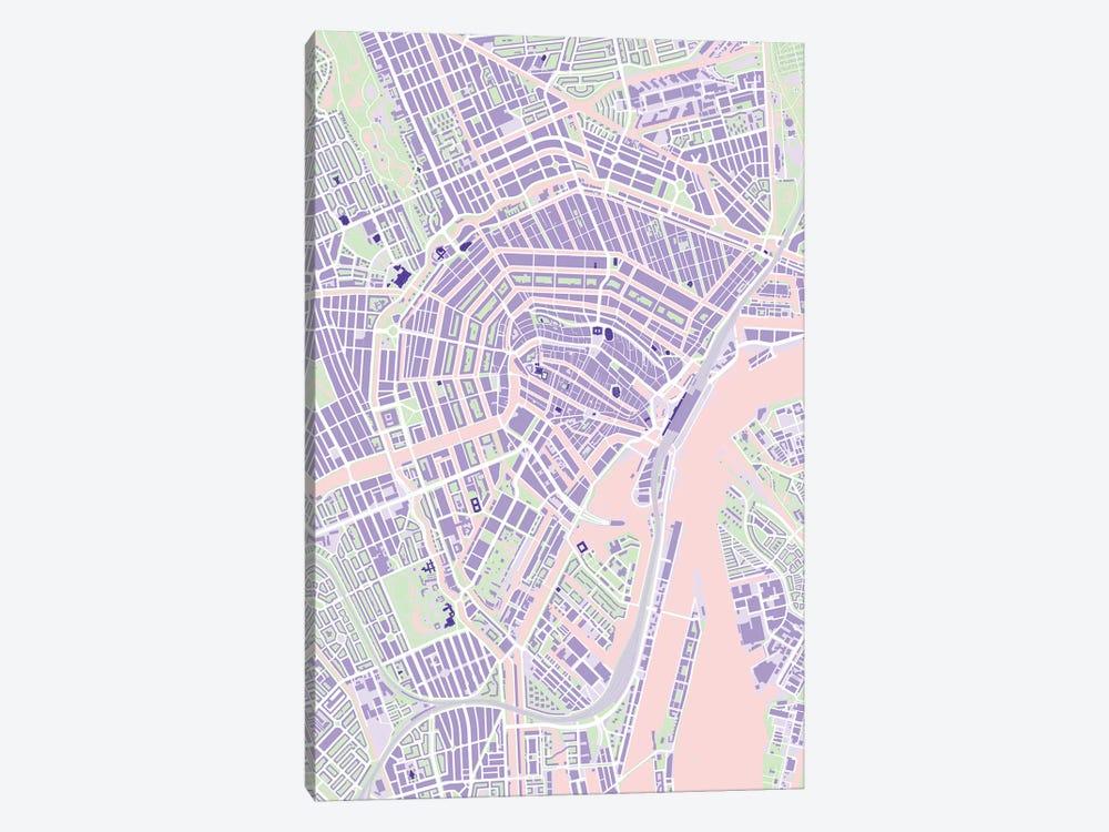 Amsterdam Violet by Planos Urbanos 1-piece Canvas Wall Art