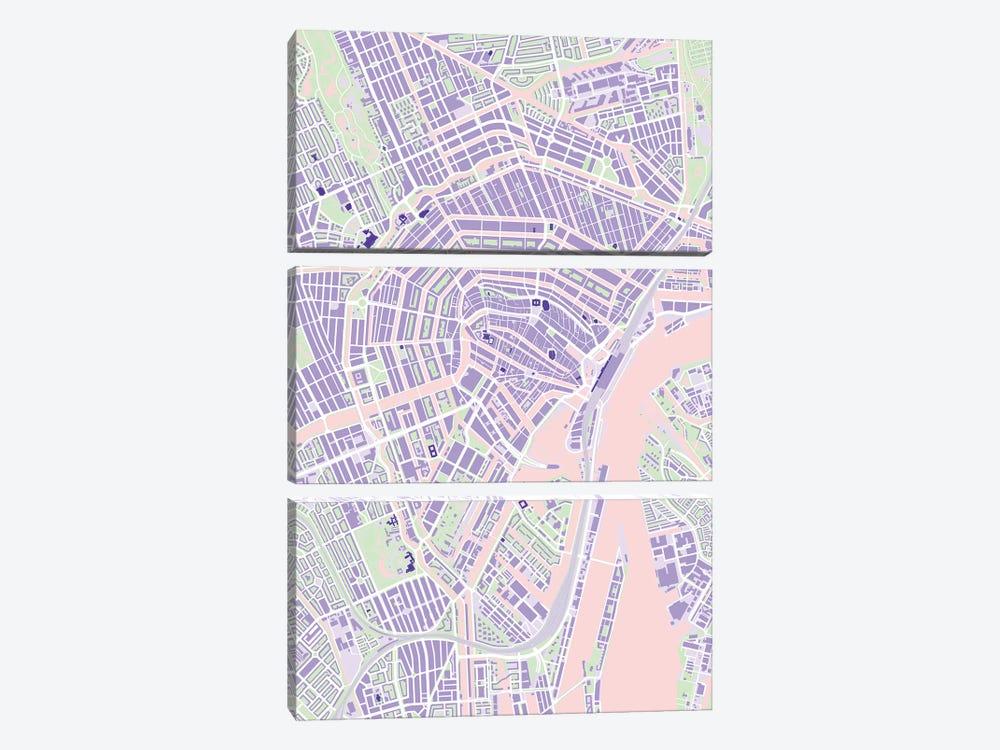 Amsterdam Violet by Planos Urbanos 3-piece Canvas Wall Art