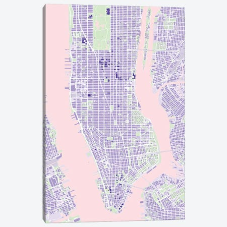New York Violet Canvas Print #PUB50} by Planos Urbanos Canvas Print