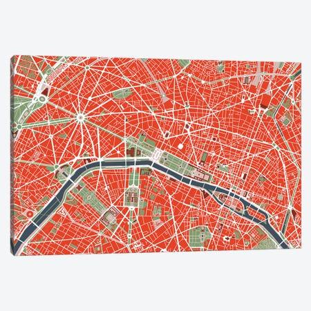 Paris Classic Canvas Print #PUB52} by Planos Urbanos Canvas Print