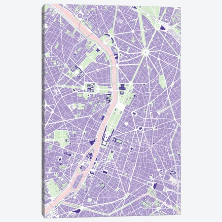Paris Violet Canvas Print #PUB54} by Planos Urbanos Canvas Artwork