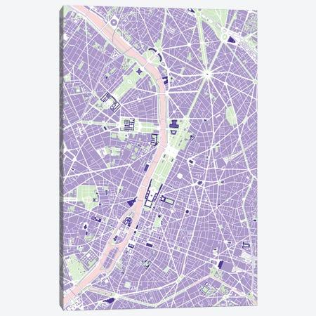 Paris Violet Canvas Print #PUB54} by Planos Urbanos Canvas Artwork