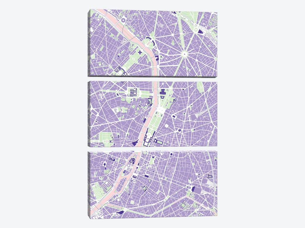 Paris Violet by Planos Urbanos 3-piece Canvas Art