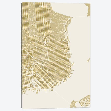 San Francisco Gold Canvas Print #PUB61} by Planos Urbanos Canvas Art
