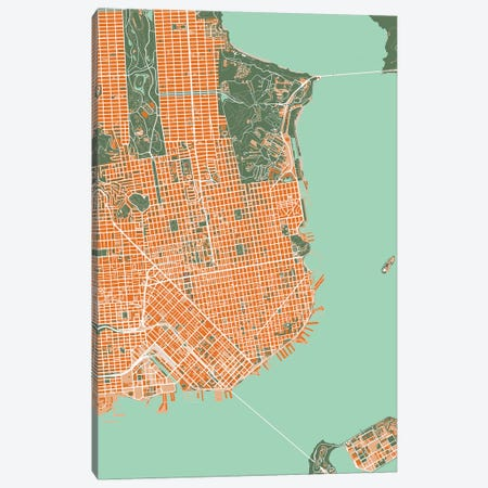 San Francisco Orange Canvas Print #PUB62} by Planos Urbanos Canvas Artwork