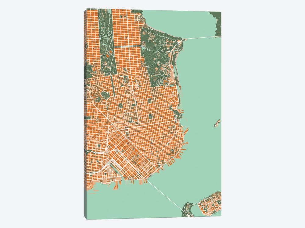 San Francisco Orange by Planos Urbanos 1-piece Canvas Art Print