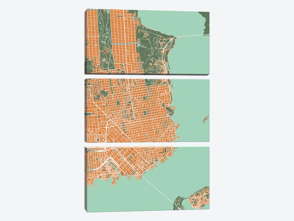 San Francisco Orange by Planos Urbanos 3-piece Canvas Print