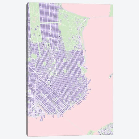 San Francisco Violet Canvas Print #PUB63} by Planos Urbanos Canvas Art