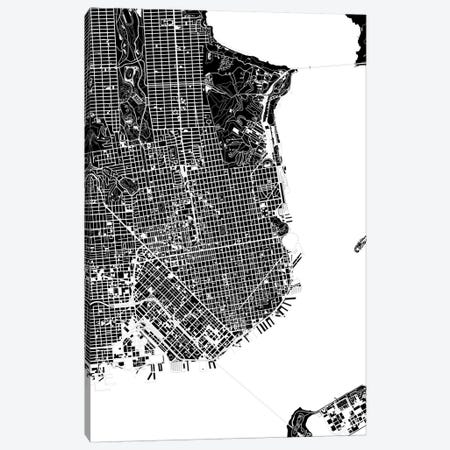 San Francisco Black And White Canvas Print #PUB64} by Planos Urbanos Art Print