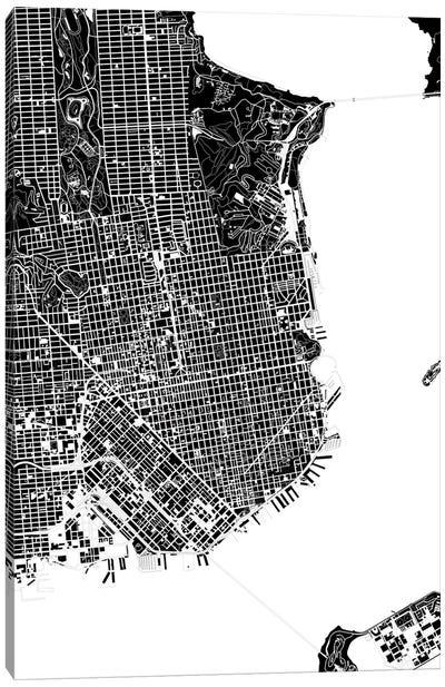 San Francisco Black And White Canvas Art Print
