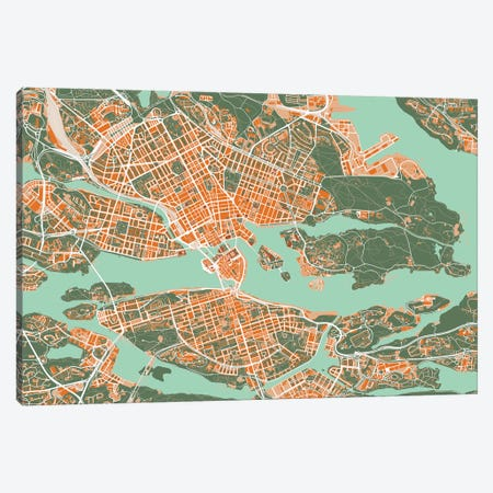 Stockholm Orange Canvas Print #PUB68} by Planos Urbanos Canvas Art
