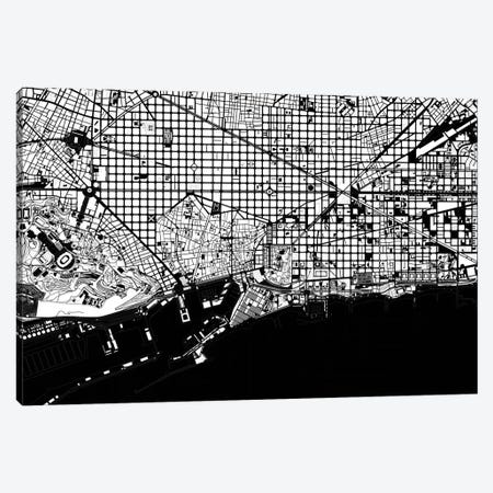 Barcelona Black And White 2 Canvas Print #PUB6} by Planos Urbanos Canvas Artwork