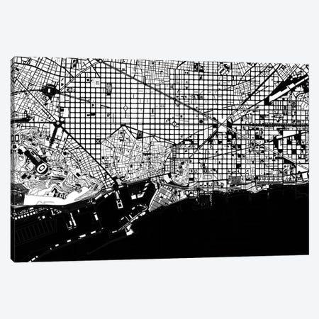 Barcelona Black And White 2 Canvas Print #PUB6} by Planos Urbanos Canvas Artwork