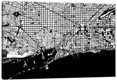 Barcelona Black And White 2 Canvas Art Print