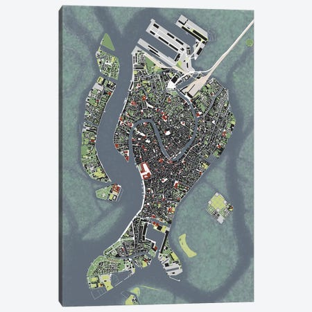 Venice Engraving Canvas Print #PUB73} by Planos Urbanos Canvas Art Print