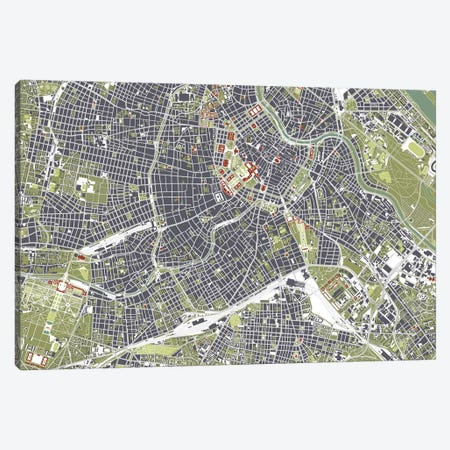 Vienna Engraving Canvas Print #PUB74} by Planos Urbanos Canvas Art