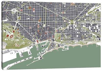 Barcelona Engraving Canvas Art Print