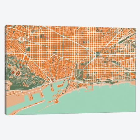 Barcelona Orange Canvas Print #PUB8} by Planos Urbanos Canvas Print