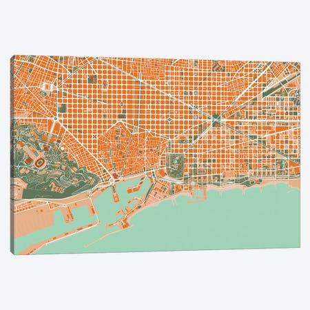 Barcelona Orange Canvas Print #PUB8} by Planos Urbanos Canvas Print