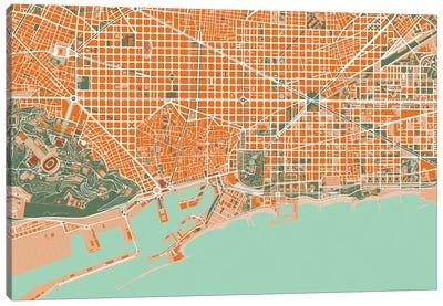 Barcelona Orange Canvas Art Print