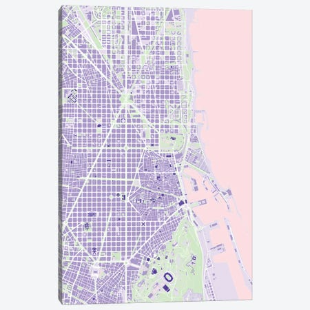 Barcelona Violet Canvas Print #PUB9} by Planos Urbanos Canvas Art Print