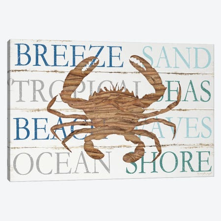 Driftwood Crab With Type Canvas Print #PUG11} by Jennifer Pugh Canvas Artwork