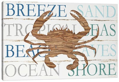 Driftwood Crab With Type Canvas Art Print