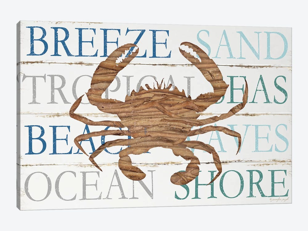 Driftwood Crab With Type by Jennifer Pugh 1-piece Canvas Art Print